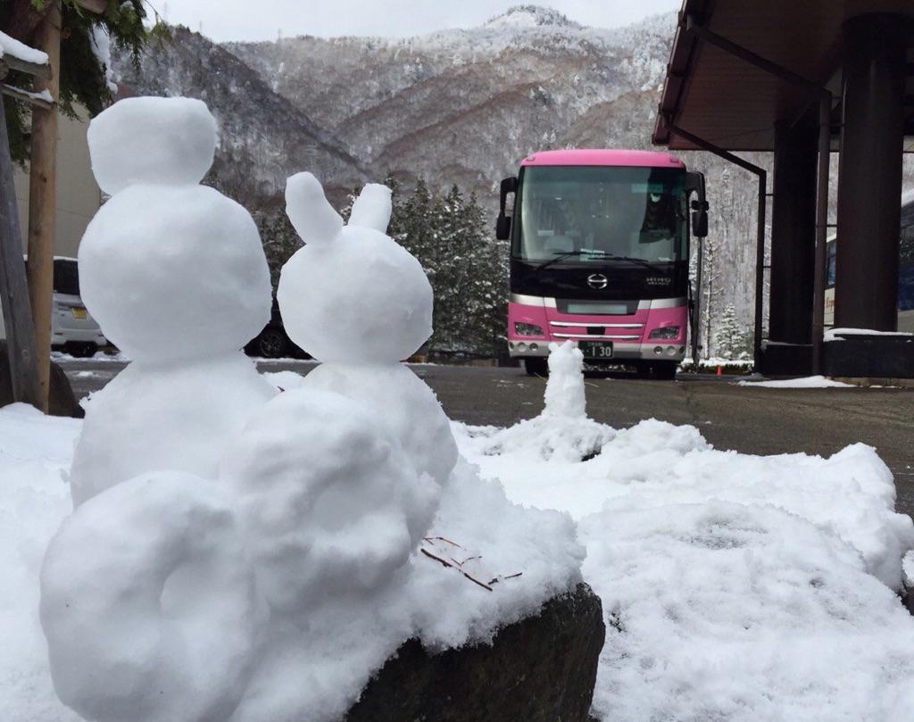 雪だるまピンクバス